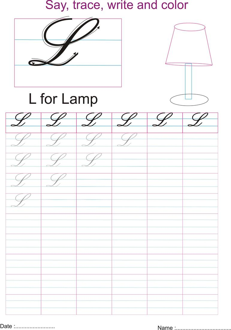 Cursive captial letter 'L' worksheet