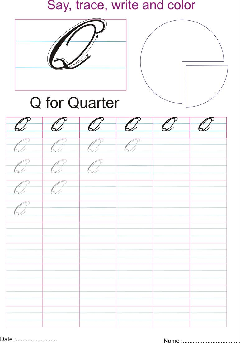 worksheet Letter Q Worksheet cursive captial letter q worksheet