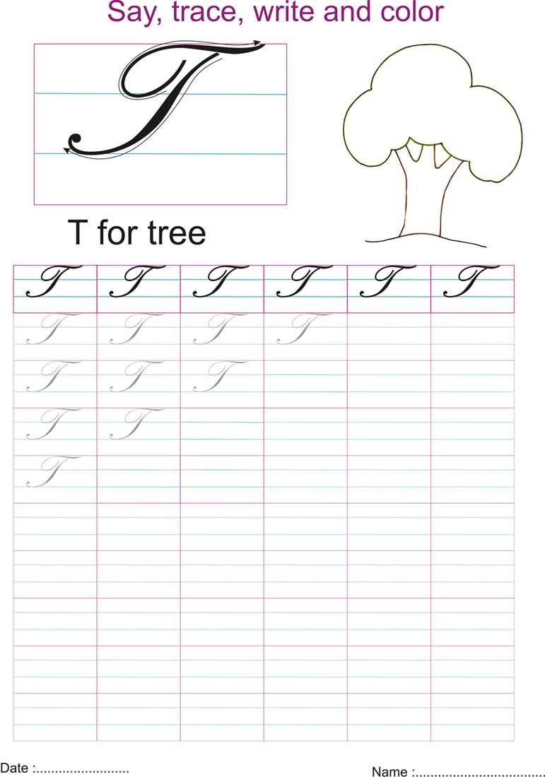 Worksheet Letter T In Cursive cursive captial letter t worksheet