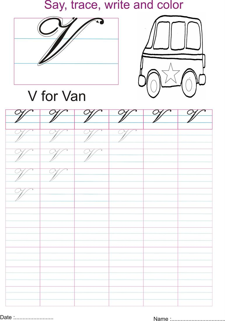 Worksheet V In Cursive cursive captial letter v worksheet