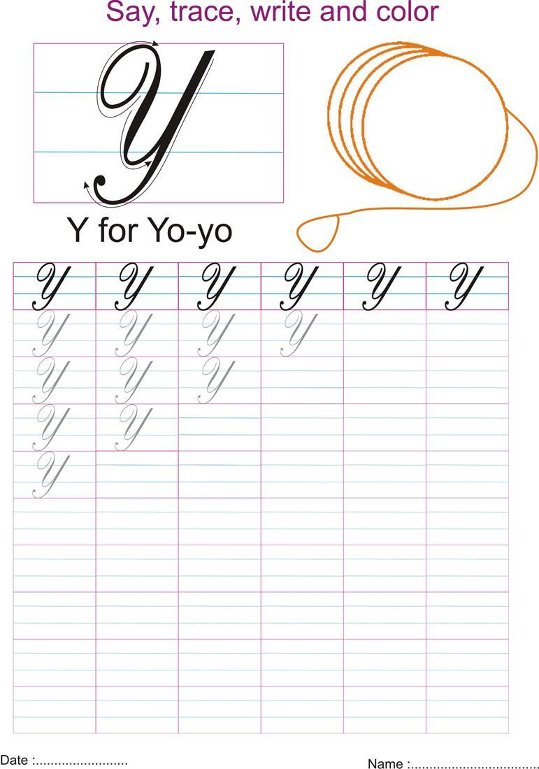 Cursive Captial Letter Y Worksheet