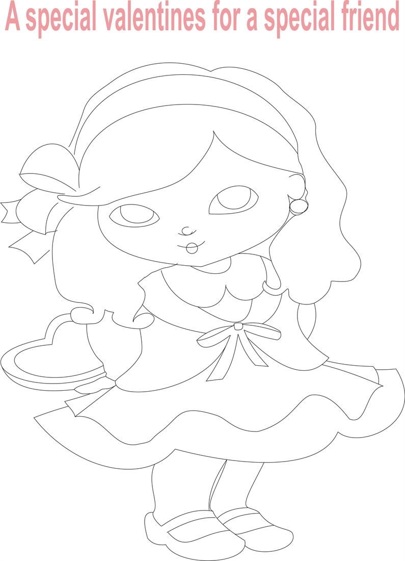 Valentines Coloring Pages Pdf : Valentine day coloring printable page for kids
