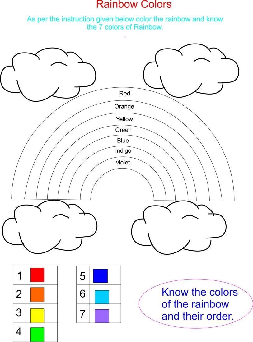 Rainbow has 7 beautifull colors – Color Recognition Worksheets