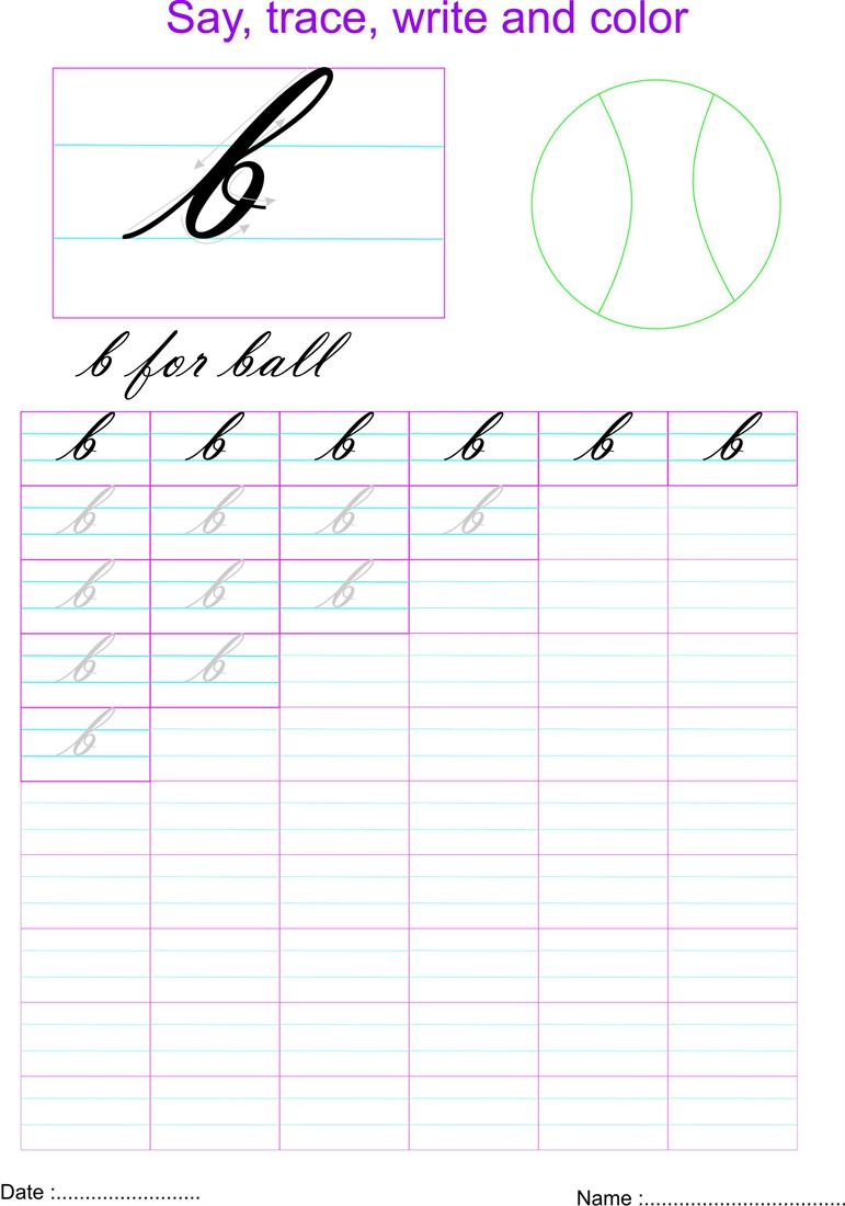 Cursive small letter \'b\' worksheet