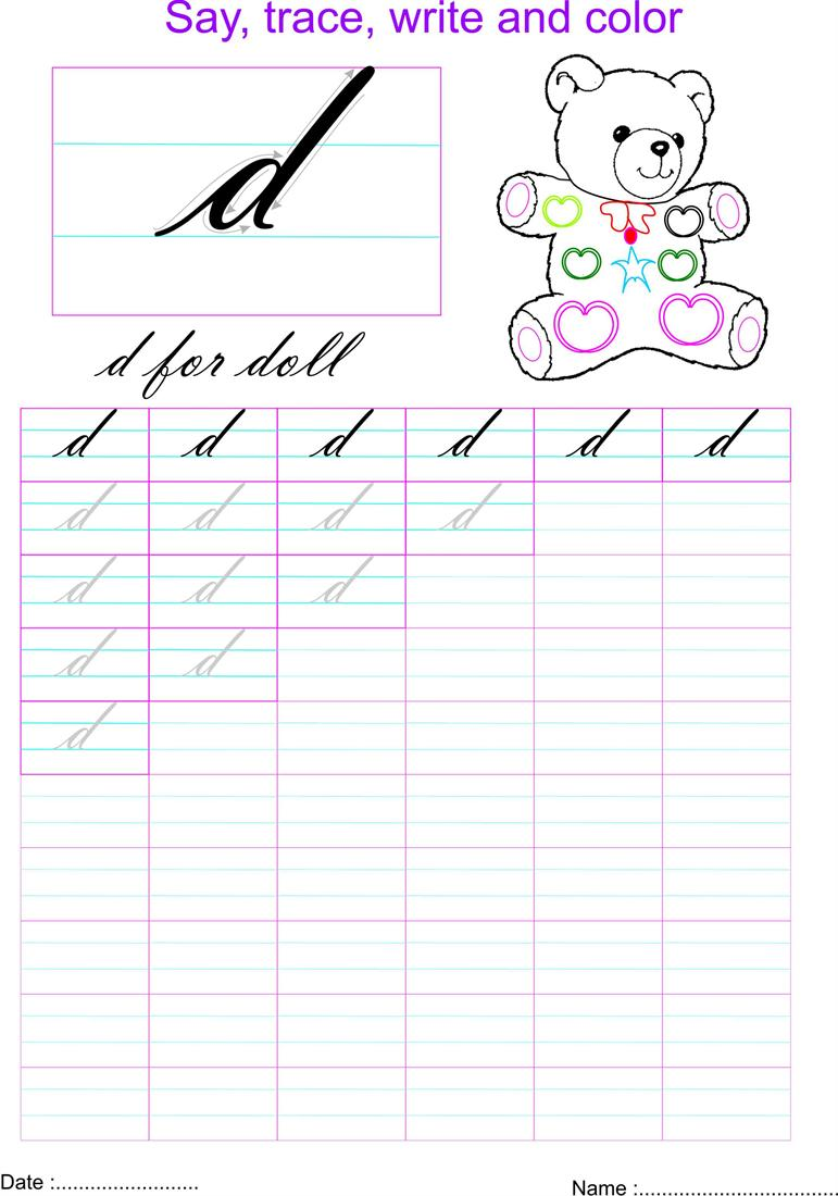 Worksheet D Cursive cursive small letter d worksheet