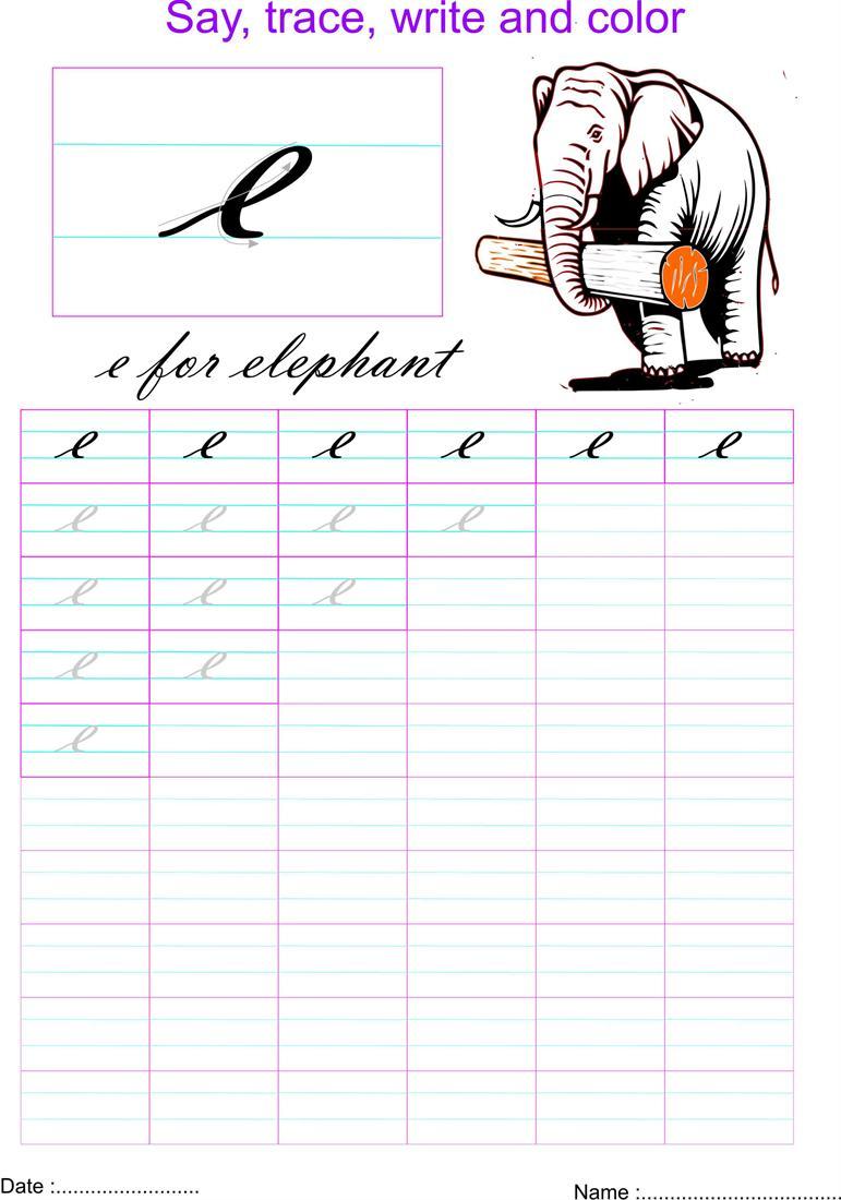 worksheet Letter E Worksheet cursive small letter e worksheet