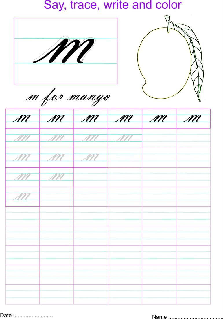 Cursive small letter m worksheet