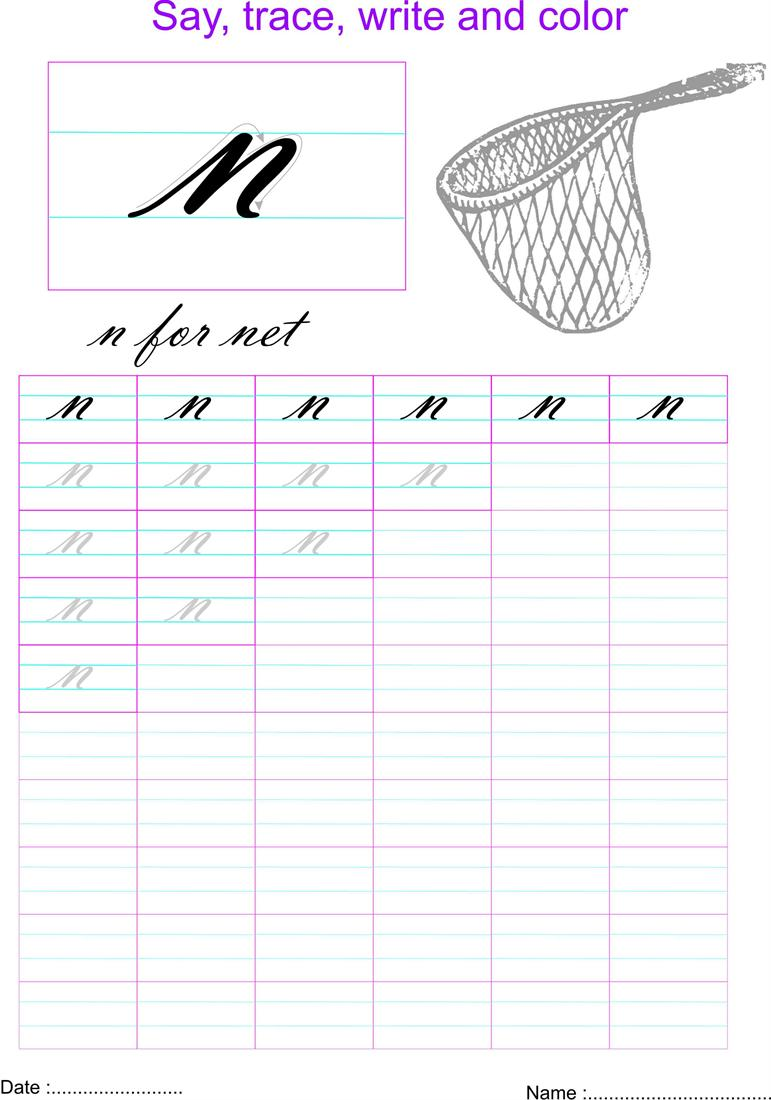 Cursive Small Letter N Worksheet