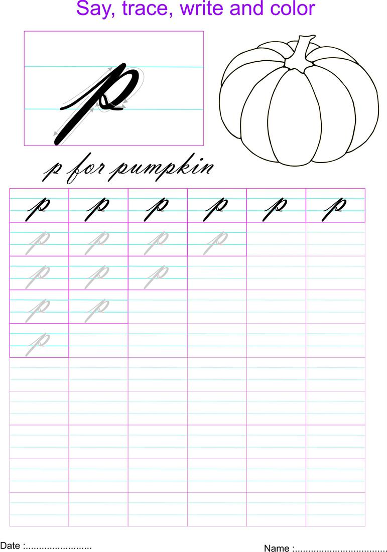 Cursive small letter \'p\' worksheet