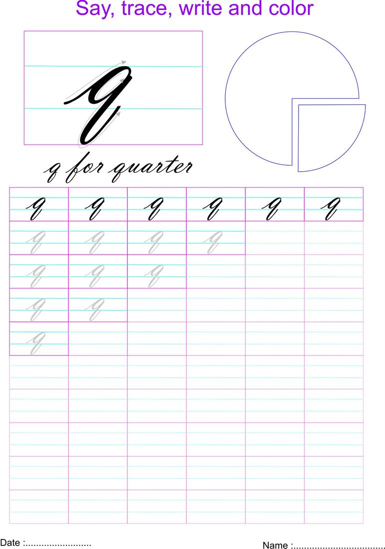 Cursive small letter \'q\' worksheet