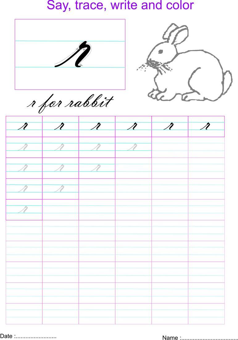 cursive small letter r worksheet