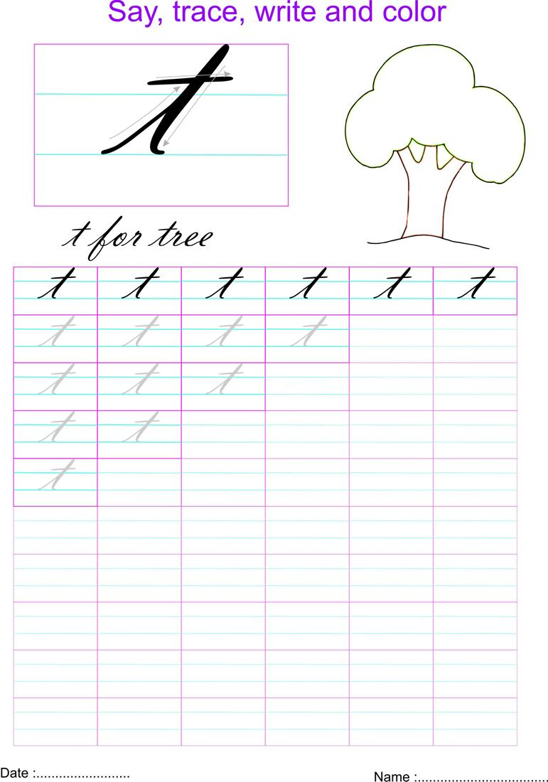 Worksheet Letter T In Cursive cursive small letter t worksheet