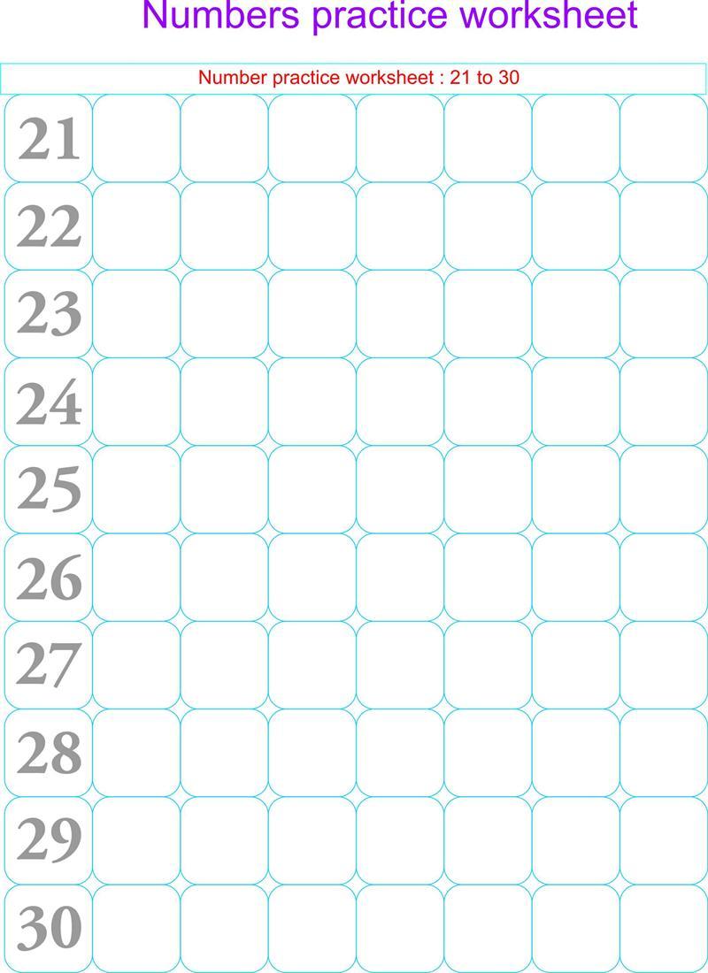 Numbers practice worksheets - 21 - 30