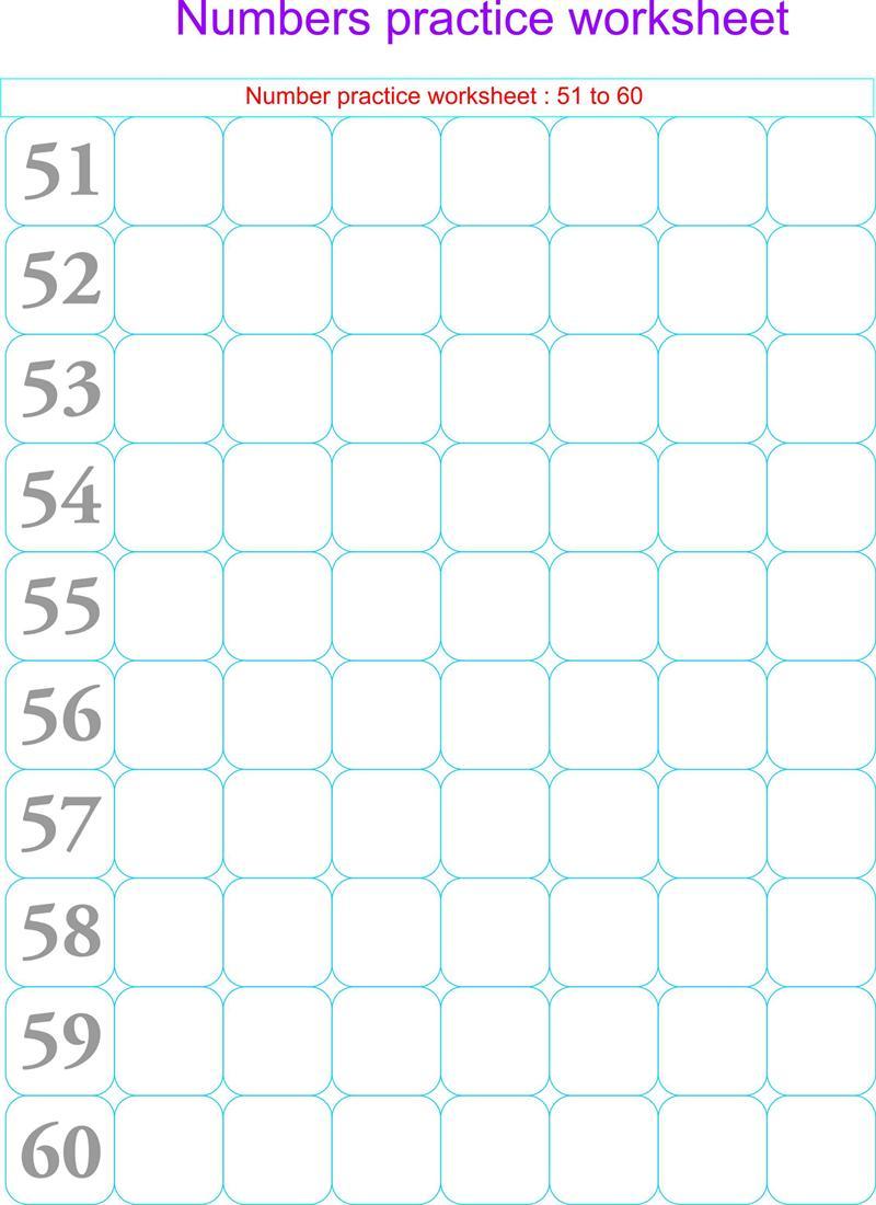Numbers practice worksheets 51 60 – Number Practice Worksheets