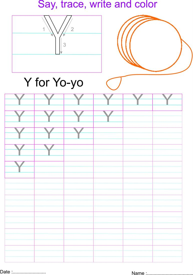English capital letter 'Y' worksheet