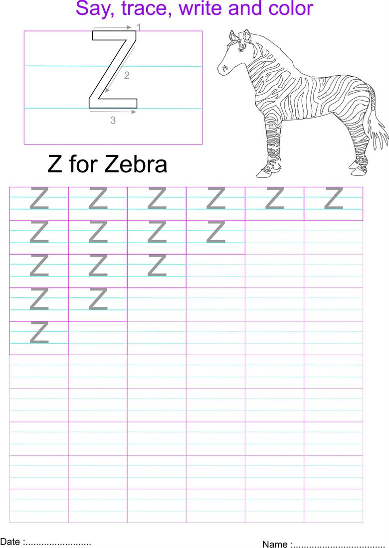 worksheet Letter Z Worksheet english capital letter z worksheet