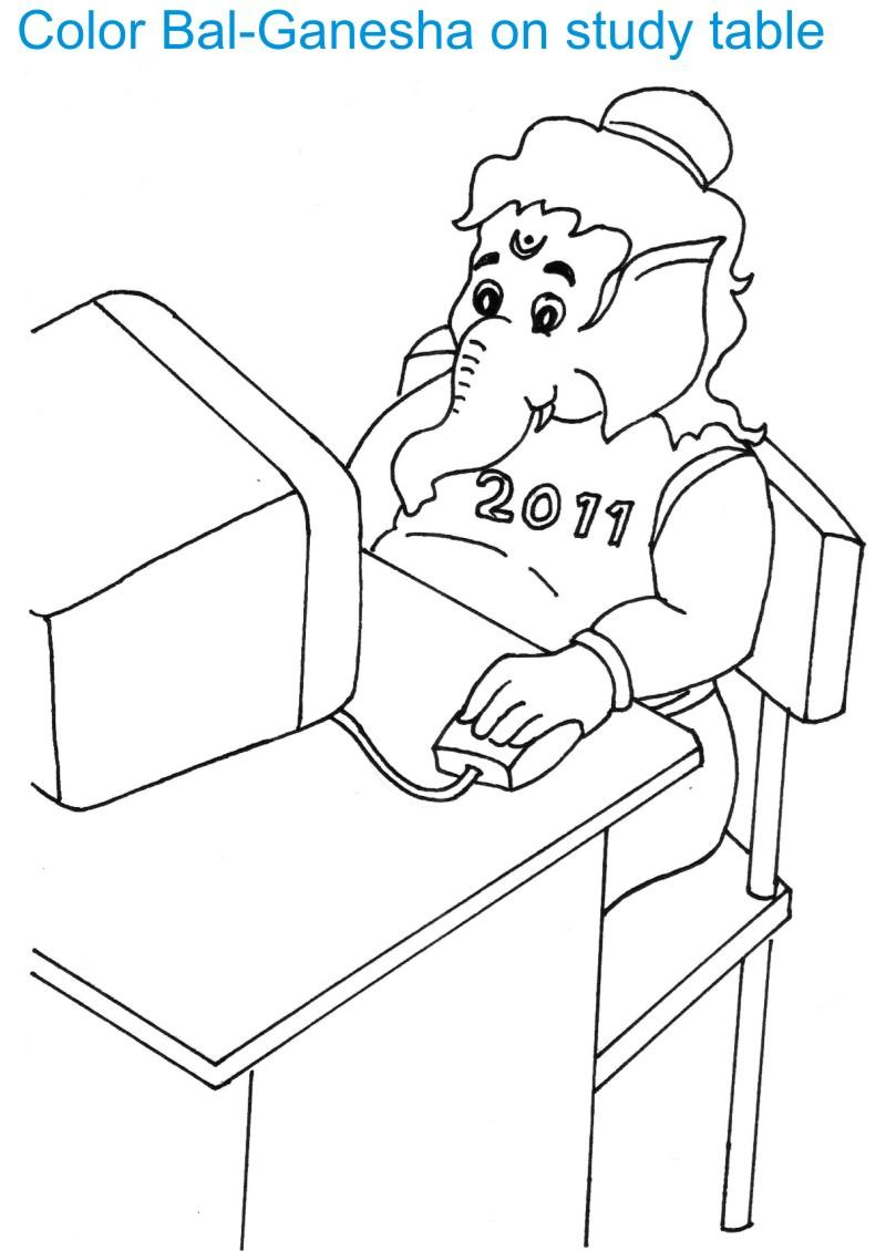 Ganesh coloring pages for kids