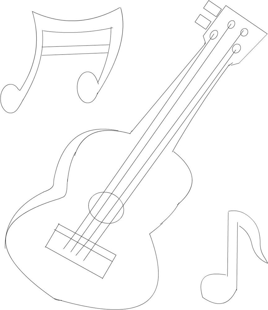 Guitar Coloring Pages Pdf : Guitar printable coloring page for kids