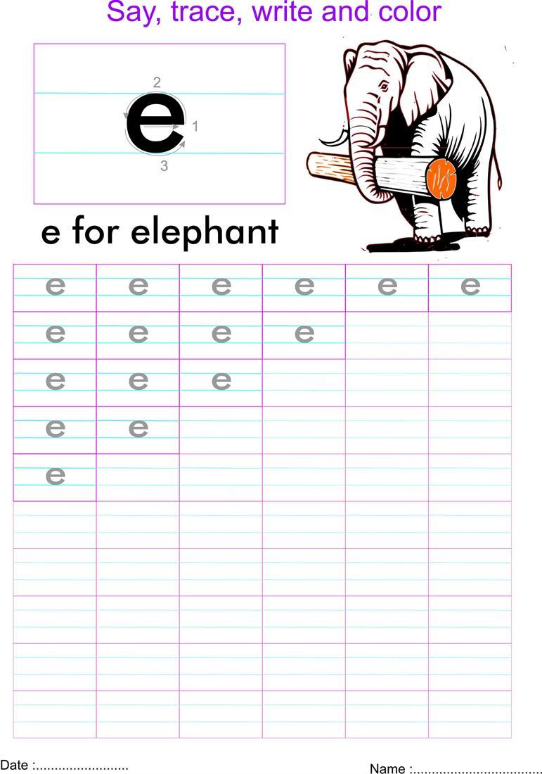 english small letter u0027e u0027 worksheet