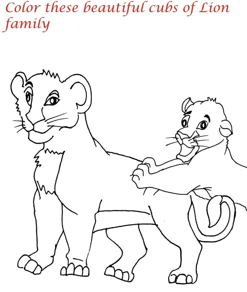 Lion Coloring Pages Pdf : Lion family printable coloring page for kids