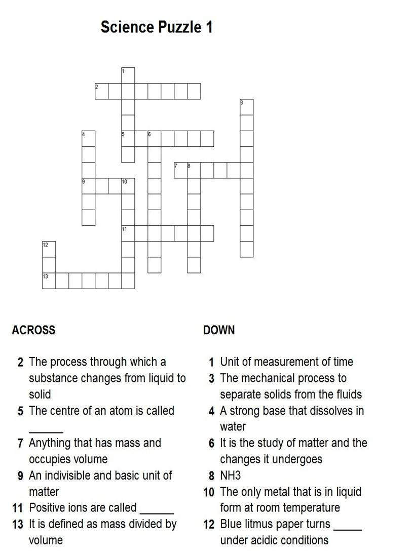 Science Crossword PDF http://www.studyvillage.com/resources ...