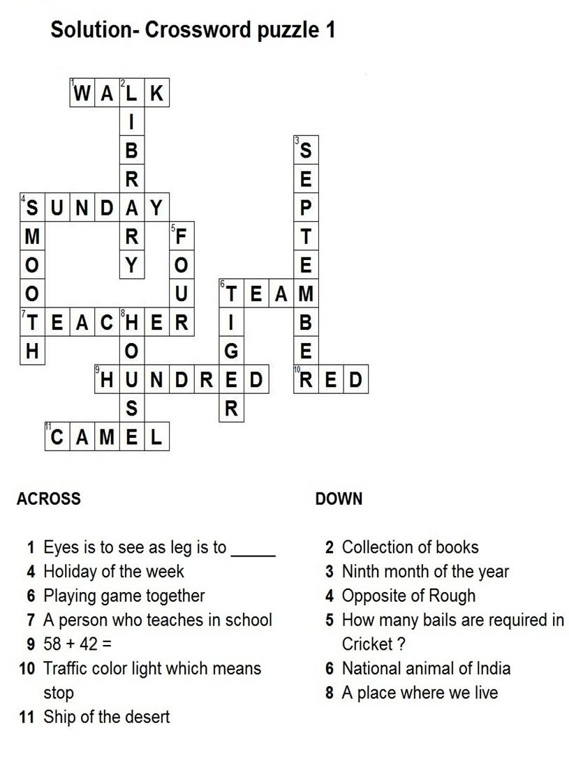 Solution - General crossword puzzle 1
