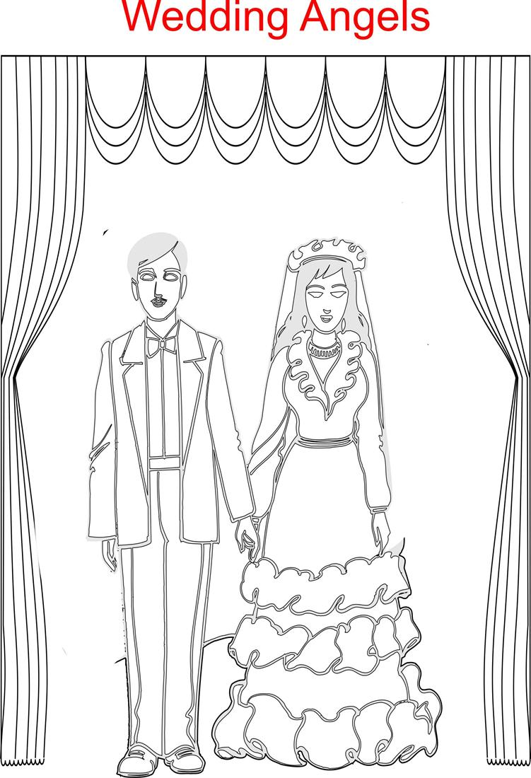 Wedding Angels printable coloring page for kids – Wedding Worksheets