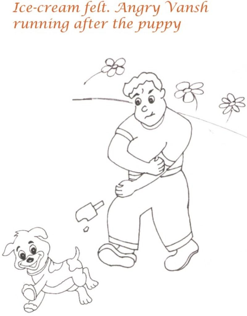 Download picnic with puppy coloring page for kids