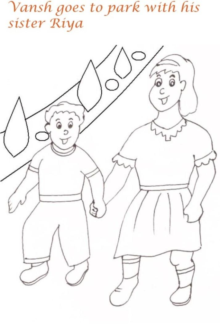 Picnic in the park with sister coloring pages