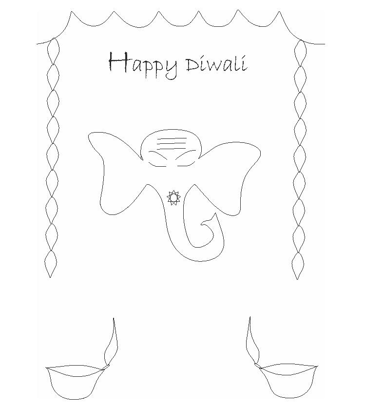 Diwali Printable Coloring Page For Kids 3