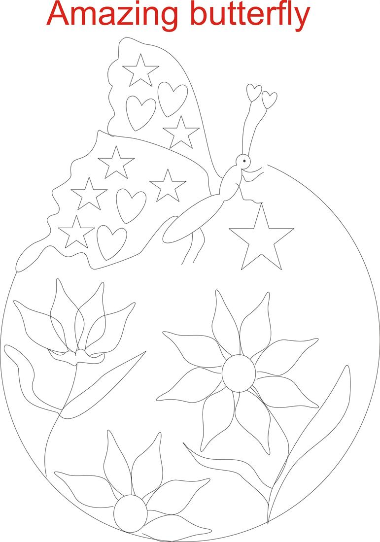 butterfly in garden coloring page printable for kids