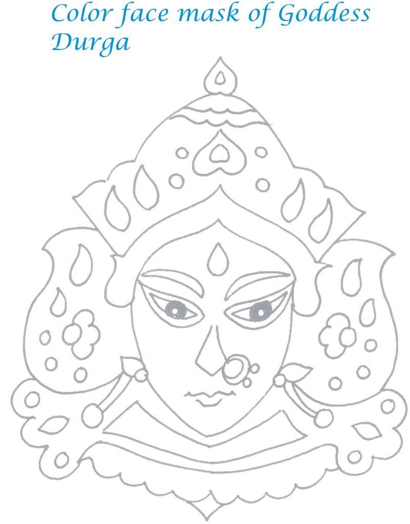 navratri printable coloring page for kids 2