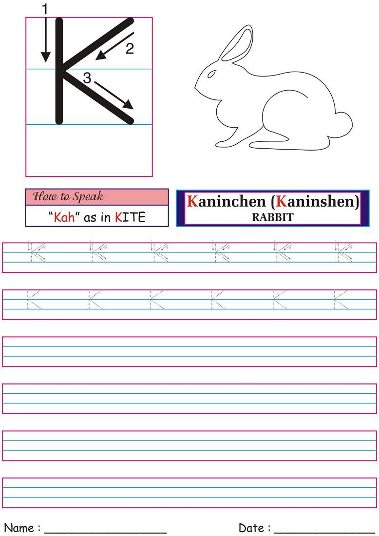 Letters letters worksheets : German Worksheet for practice -Kah
