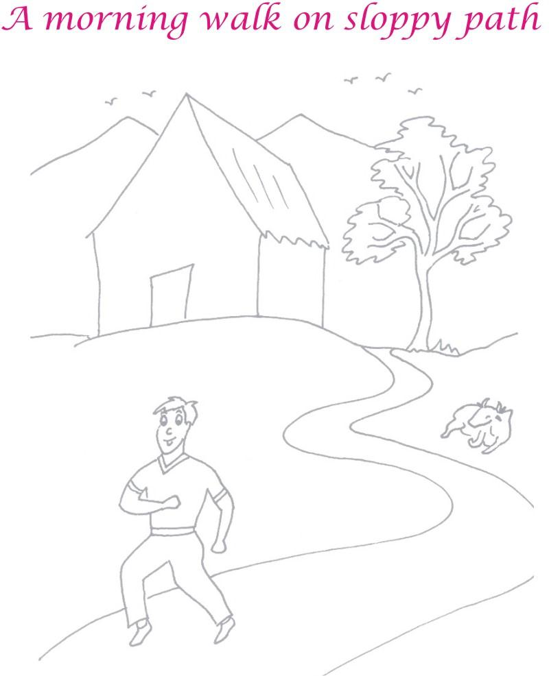 morning walk scenery coloring page