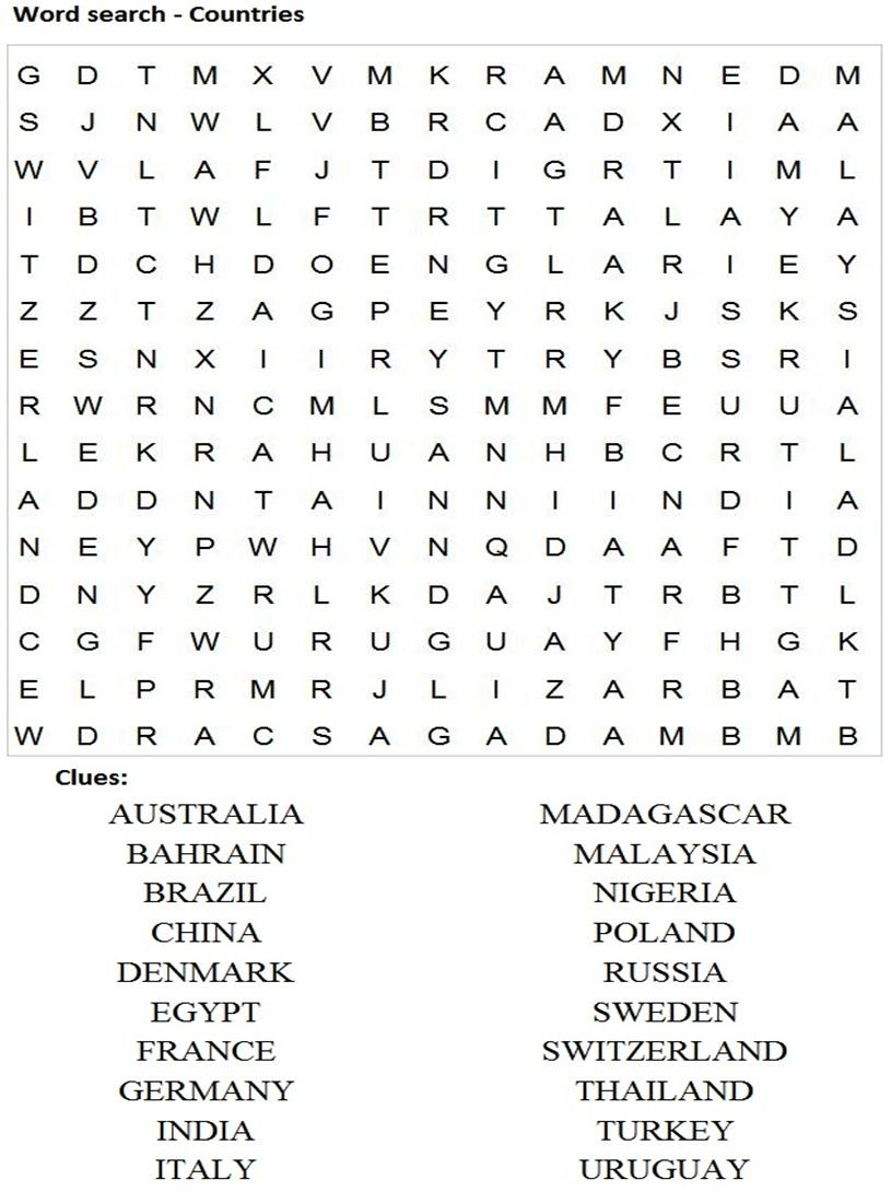 Word Search Puzzles For Kids Word search - countries.