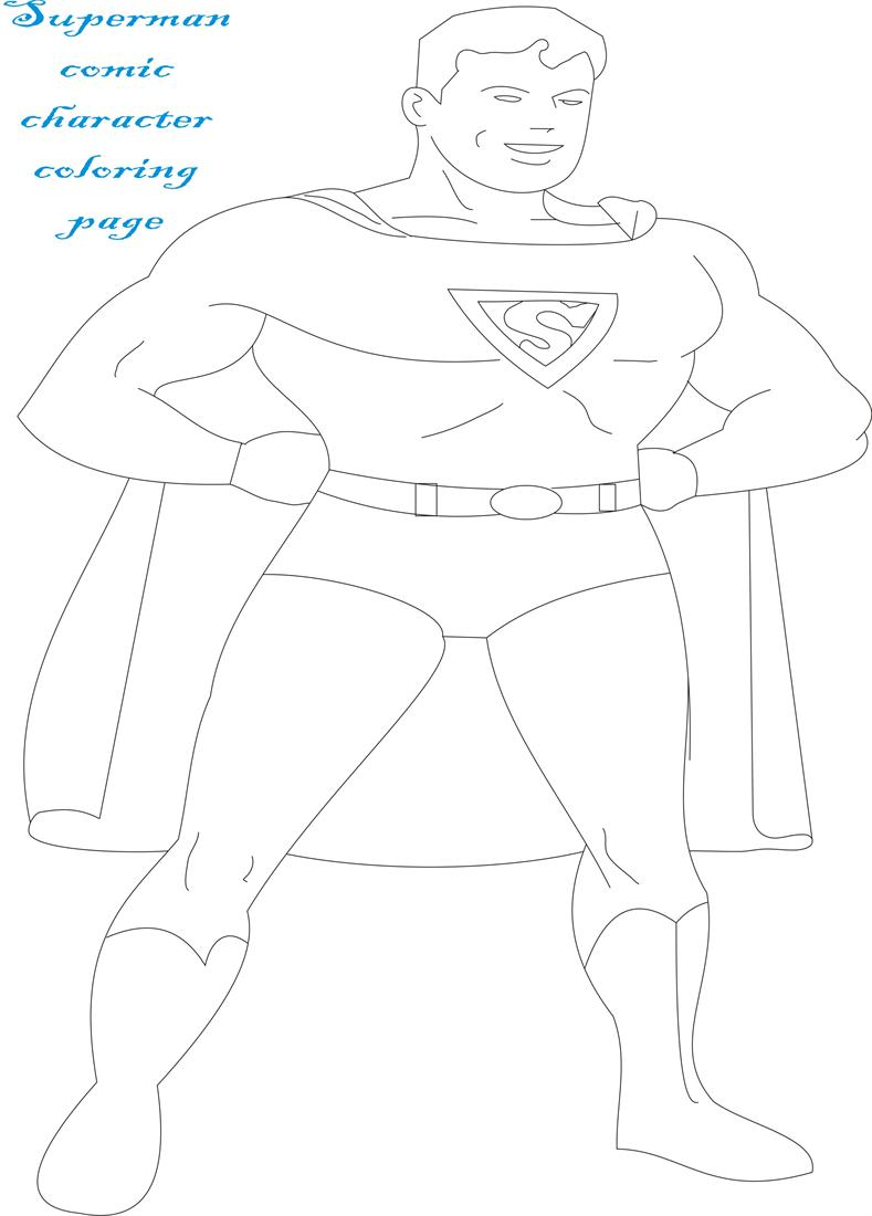 superman comic character coloring page