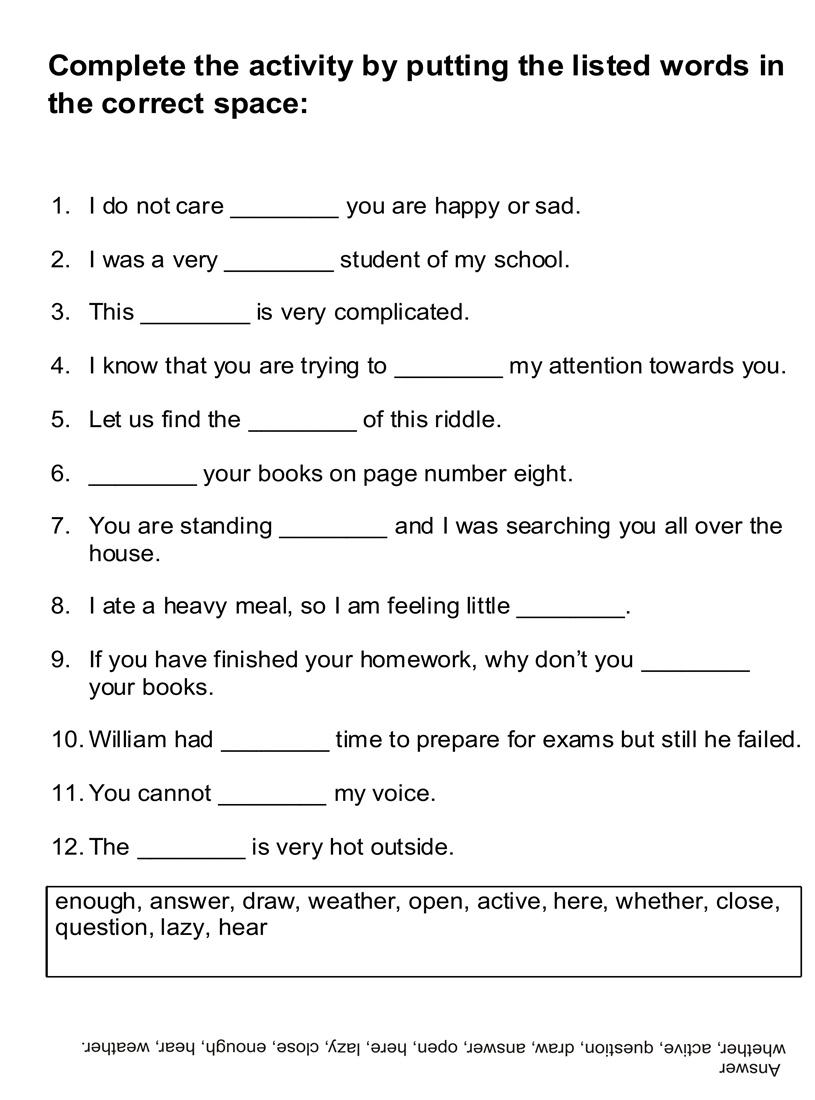 Free Worksheet Fill In The Blank Worksheets fill in the blank worksheets abitlikethis english for kids blanks open pdf file and print