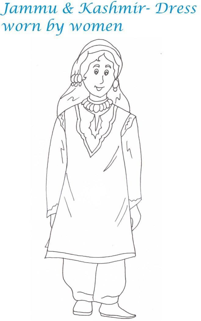Indian dresses printable coloring page for kids 2