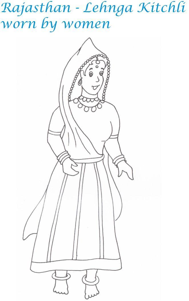 salwar kameez coloring pages - photo#33