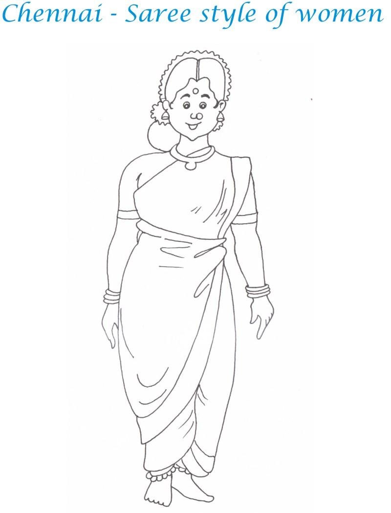 chennai women printable coloring page for kids