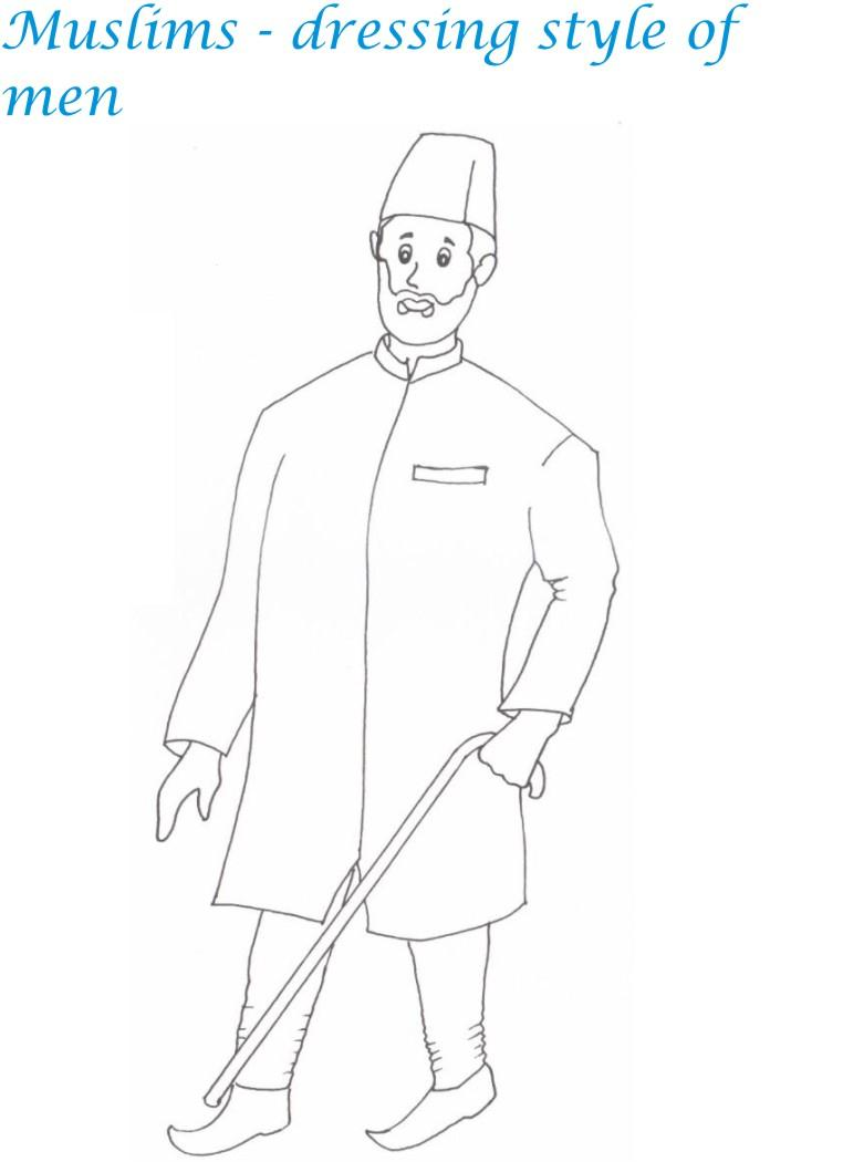 Indian dresses coloring pages - Muslim men