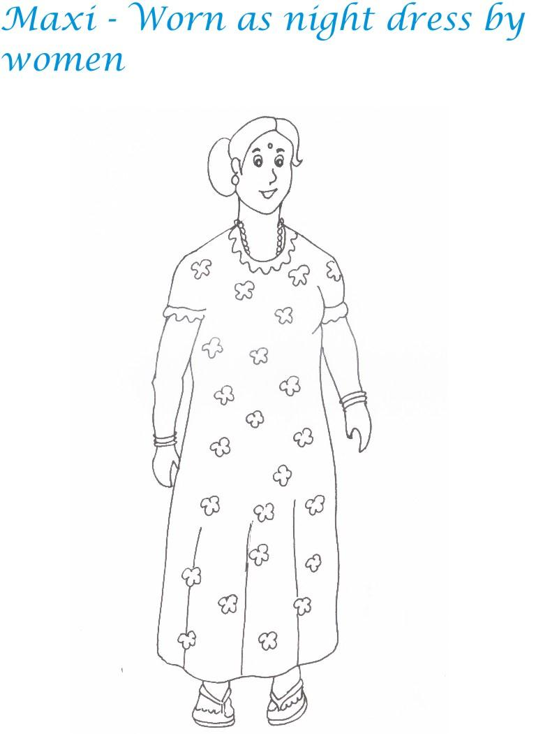 indian dresses printable coloring page for kids 3