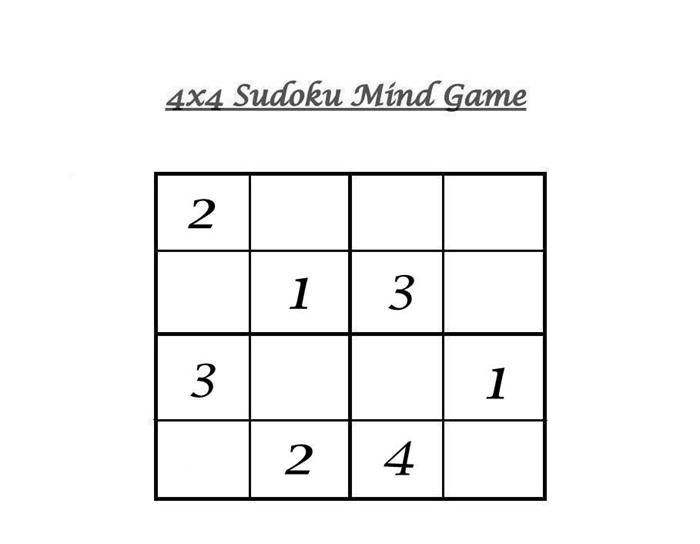 4x4 sudoku 4. Black Bedroom Furniture Sets. Home Design Ideas