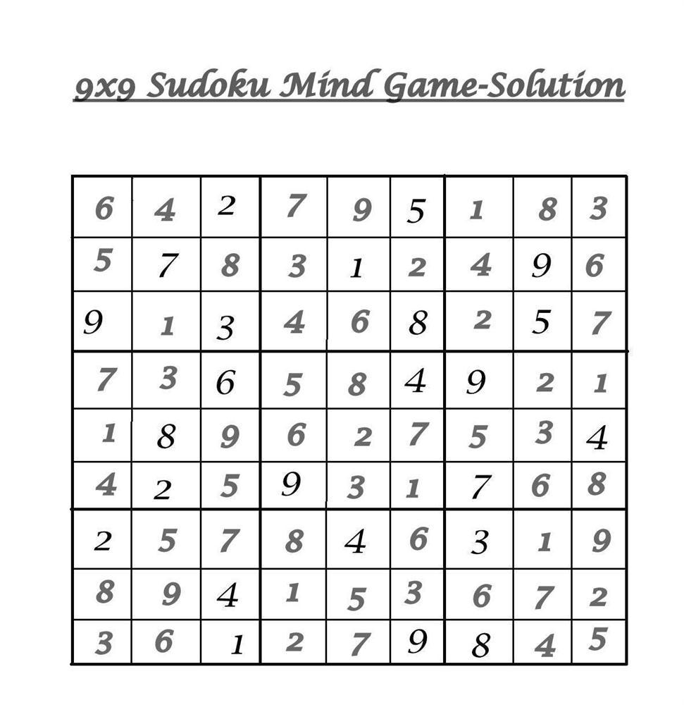 9x9 Sudoku 11 - Solution