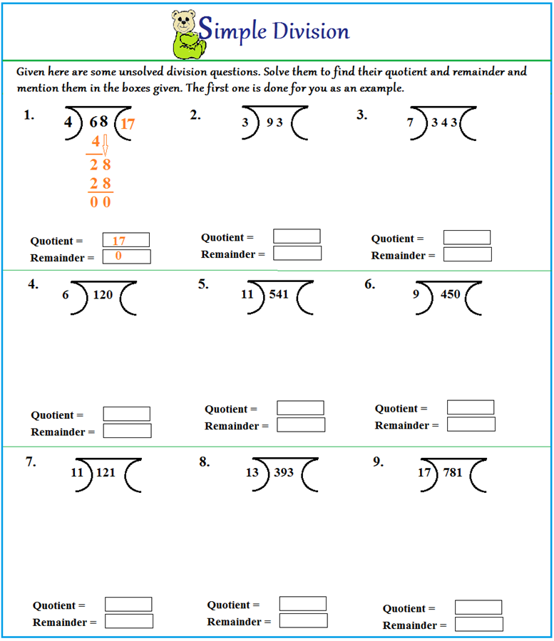 Simple Division Worksheets – Step by Step Division Worksheet
