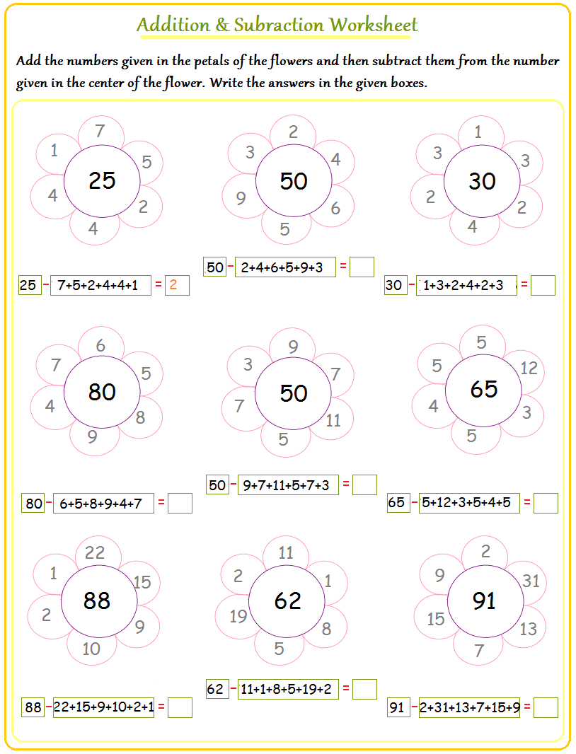 Math Addition and Subtraction Worksheets