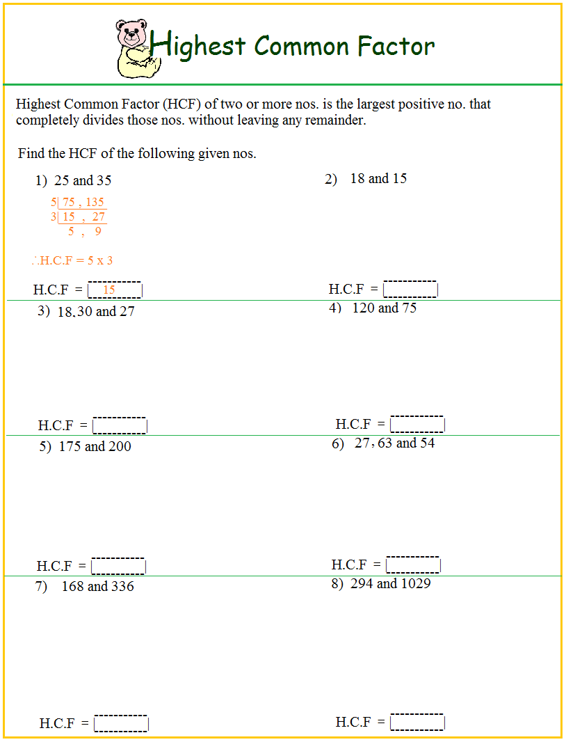 greatest common factor and least common multiple worksheet