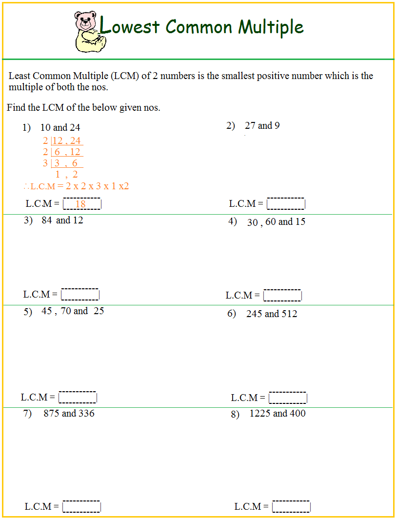 Worksheets Least Common Multiple Worksheet worksheet on lcm