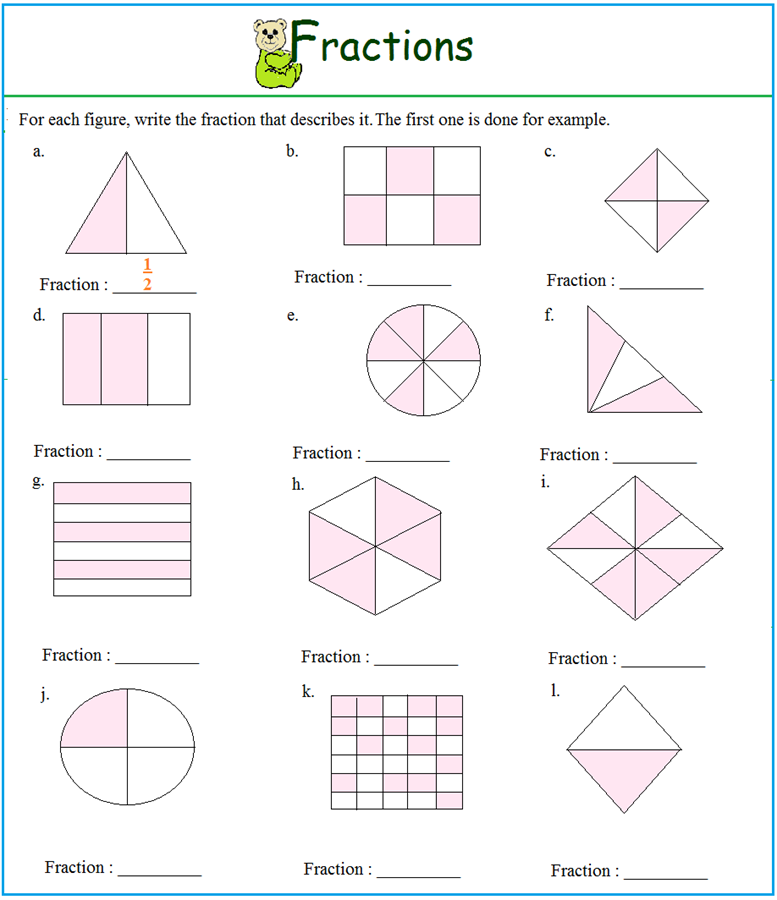 math worksheet : worksheet on fractions : Fractions Worksheets Pdf