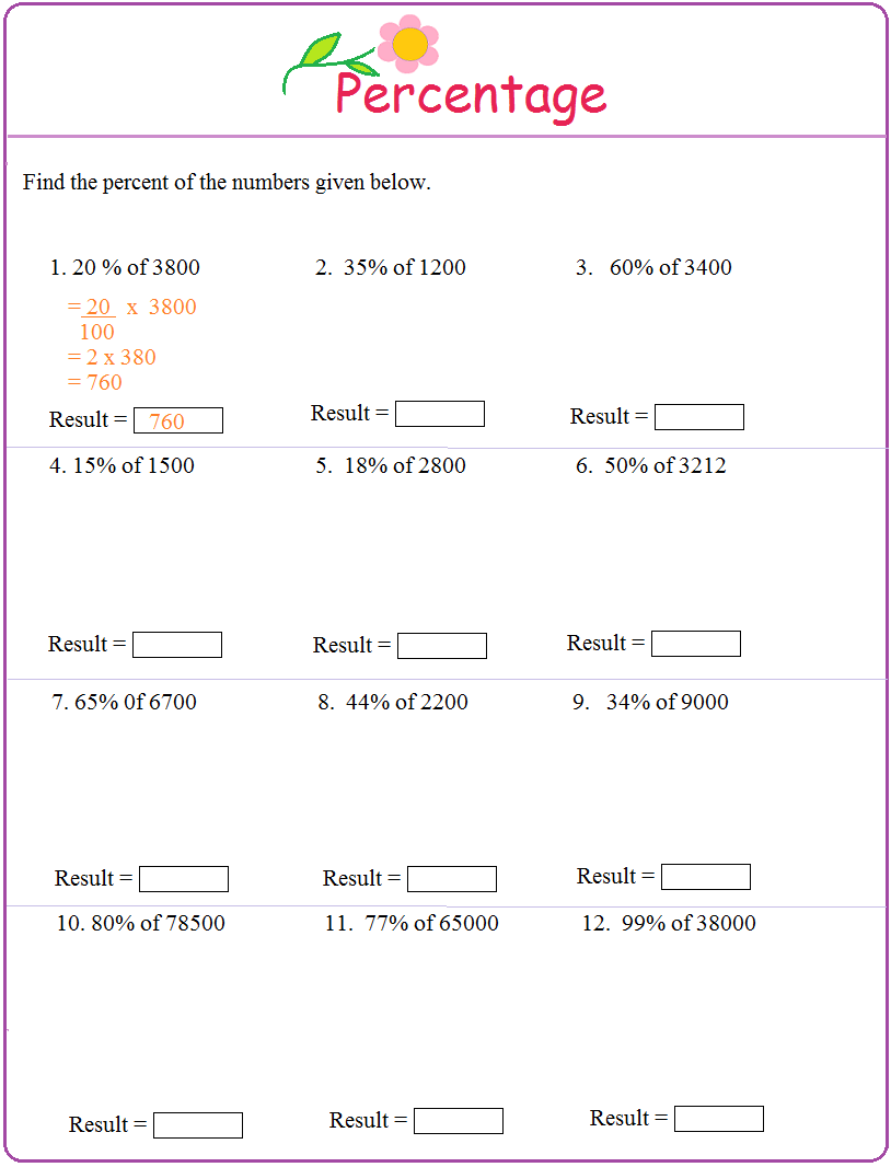 Worksheet on Percentage – Percentage Problems Worksheets
